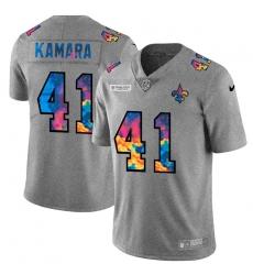 New Orleans Saints 41 Alvin Kamara Men Nike Multi Color 2020 NFL Crucial Catch NFL Jersey Greyheather