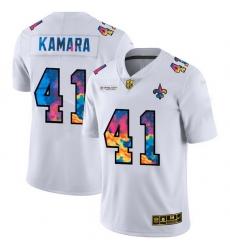 New Orleans Saints 41 Alvin Kamara Men White Nike Multi Color 2020 NFL Crucial Catch Limited NFL Jersey