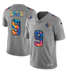 New Orleans Saints 9 Drew Brees Men Nike Multi Color 2020 NFL Crucial Catch NFL Jersey Greyheather