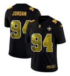 New Orleans Saints 94 Cameron Jordan Men Black Nike Golden Sequin Vapor Limited NFL Jersey