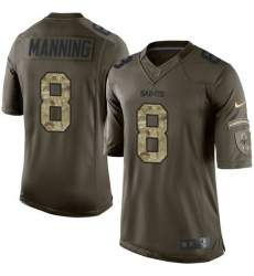 Nike New Orleans Saints #8 Archie Manning Green Men 27 27s Stitched NFL Limited Salute to Service Jersey