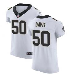Nike Saints #50 DeMario Davis White Mens Stitched NFL Vapor Untouchable Elite Jersey