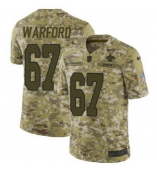 Nike Saints #67 Larry Warford Camo Mens Stitched NFL Limited 2018 Salute To Service Jersey