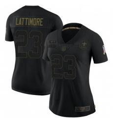 Women New Orleans Saints 23 Marshon Lattimore Black Salute To Service Limited Jersey