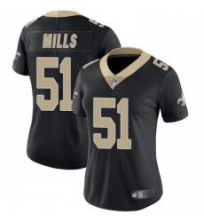 Women New Orleans Saints 51 Sam Mills Black Vapor Untouchable Limited Jersey