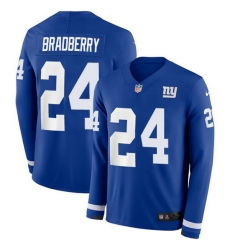 Nike Giants 24 James Bradberry Royal Blue Team Color Men Stitched NFL Limited Therma Long Sleeve Jersey