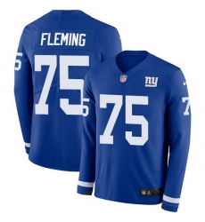 Nike Giants 75 Cameron Fleming Royal Blue Team Color Men Stitched NFL Limited Therma Long Sleeve Jersey