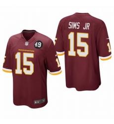 Washington Redskins 15 Steven Sims Jr  Men Nike Burgundy Bobby Mitchell Uniform Patch NFL Game Jersey