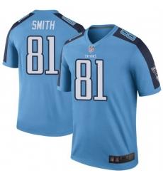 Men Tennessee Titans 81 Jonnu Smith Light Blue Rush Limited Jersey