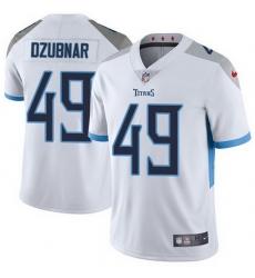Nike Titans 49 Nick Dzubnar White Men Stitched NFL Vapor Untouchable Limited Jersey