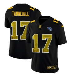 Tennessee Titans 17 Ryan Tannehill Men Black Nike Golden Sequin Vapor Limited NFL Jersey