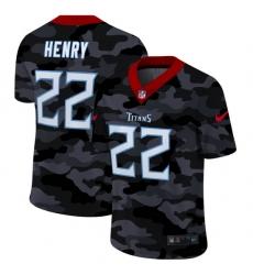 Tennessee Titans 22 Derrick Henry Men Nike 2020 Black CAMO Vapor Untouchable Limited Stitched NFL Jersey
