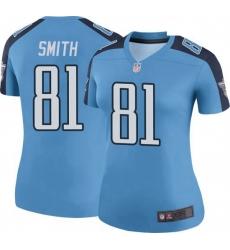 Women Tennessee Titans 81 Jonnu Smith Light Blue Rush Limited Jersey