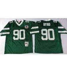 Men New York Jets 90 Dennis Byrd Green M&N Throwback Jersey