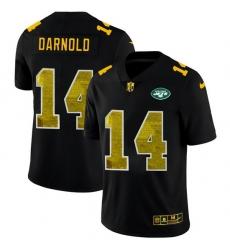 New York Jets 14 Sam Darnold Men Black Nike Golden Sequin Vapor Limited NFL Jersey