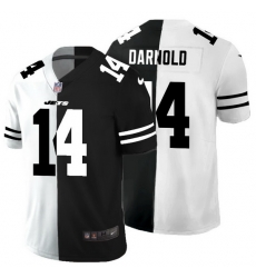 New York Jets 14 Sam Darnold Men Black V White Peace Split Nike Vapor Untouchable Limited NFL Jersey