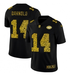 New York Jets 14 Sam Darnold Men Nike Leopard Print Fashion Vapor Limited NFL Jersey Black