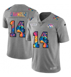 New York Jets 14 Sam Darnold Men Nike Multi Color 2020 NFL Crucial Catch NFL Jersey Greyheather