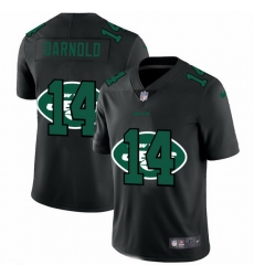 New York Jets 14 Sam Darnold Men Nike Team Logo Dual Overlap Limited NFL Jersey Black