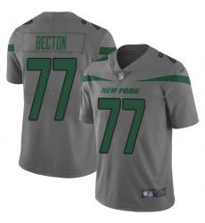 Nike Jets 77 Mekhi Becton Gray Men Stitched NFL Limited Inverted Legend Jersey