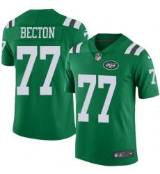 Nike Jets 77 Mekhi Becton Green Men Stitched NFL Limited Rush Jersey