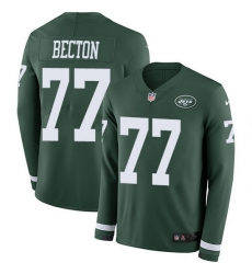 Nike Jets 77 Mekhi Becton Green Team Color Men Stitched NFL Limited Therma Long Sleeve Jersey