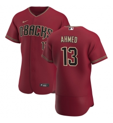 Men Arizona Diamondbacks 13 Nick Ahmed Men Nike Crimson Flex Base Alternate Team MLB Jersey