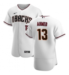Men Arizona Diamondbacks 13 Nick Ahmed Men Nike White Crimson Flex Base Home Team MLB Jersey