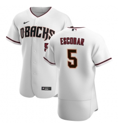Men Arizona Diamondbacks 5 Eduardo Escobar Men Nike White Crimson Flex Base Home Team MLB Jersey