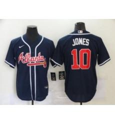 MLB Braves 10 Chipper Jones Navy Cool Base Men Jersey