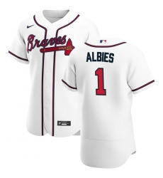 Men Atlanta Braves 1 Ozzie Albies Men Nike White Home 2020 Flex Base Player MLB Jersey