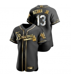 Men Atlanta Braves 13 Ronald Acuna Jr  Black Gold 2020 Nike Flexbase Jersey