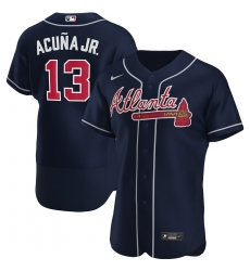 Men Atlanta Braves 13 Ronald Acuna Jr  Men Nike Navy Alternate 2020 Flex Base Player MLB Jersey