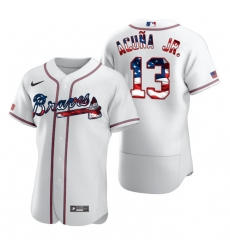 Men Atlanta Braves 13 Ronald Acuna Jr  White USA Flag Fashion Nike Cool Base Jersey