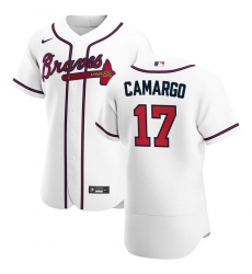 Men Atlanta Braves 17 Johan Camargo Men Nike White Home 2020 Flex Base Player MLB Jersey