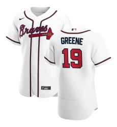 Men Atlanta Braves 19 Shane Greene Men Nike White Home 2020 Flex Base Player MLB Jersey