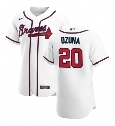 Men Atlanta Braves 20 Marcell Ozuna Men Nike White Home 2020 Flex Base Player MLB Jersey