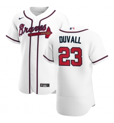 Men Atlanta Braves 23 Adam Duvall Men Nike White Home 2020 Flex Base Player MLB Jersey