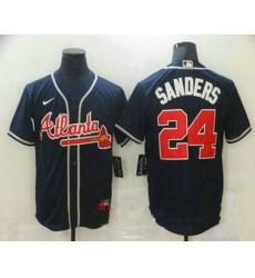 Men Atlanta Braves 24 Deion Sanders Navy Blue Stitched MLB Cool Base Nike Jersey