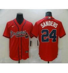 Men Atlanta Braves 24 Deion Sanders Red Stitched MLB Cool Base Nike Jersey