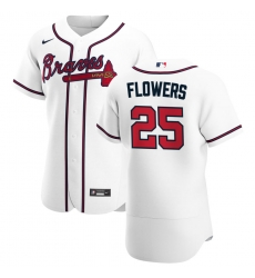 Men Atlanta Braves 25 Tyler Flowers Men Nike White Home 2020 Flex Base Player MLB Jersey