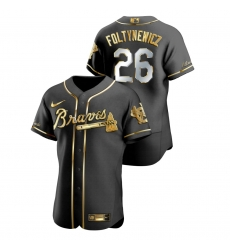 Men Atlanta Braves 26 Mike Foltynewicz Black Gold 2020 Nike Flexbase Jersey