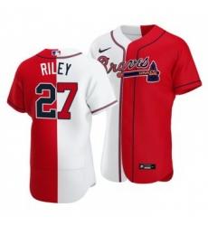 Men Atlanta Braves 27 Austin Riley Split White Red Two Tone Jersey