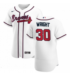 Men Atlanta Braves 30 Kyle Wright Men Nike White Home 2020 Flex Base Player MLB Jersey