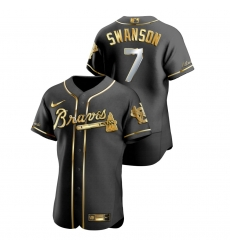 Men Atlanta Braves 7 Dansby Swanson Black Gold 2020 Nike Flexbase Jersey