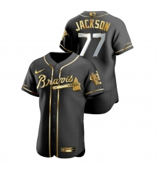 Men Atlanta Braves 77 Luke Jackson Black Gold 2020 Nike Flexbase Jersey
