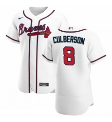 Men Atlanta Braves 8 Charlie Culberson Men Nike White Home 2020 Flex Base Player MLB Jersey