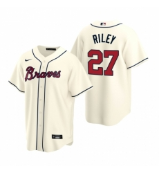 Mens Nike Atlanta Braves 27 Austin Riley Cream Alternate Stitched Baseball Jersey