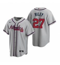 Mens Nike Atlanta Braves 27 Austin Riley Gray Road Stitched Baseball Jersey