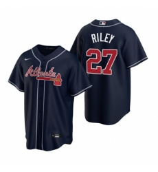 Mens Nike Atlanta Braves 27 Austin Riley Navy Alternate Stitched Baseball Jersey